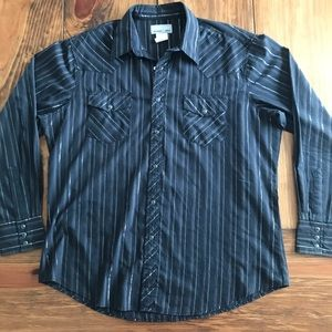 Wrangler Wrancher Striped Pearl Snap Shirt EUC
